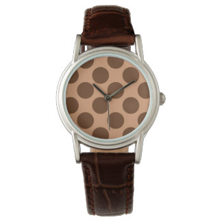 Giant retro dots - Coffee brown Watches