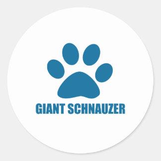 GIANT SCHNAUZER DOG DESIGNS CLASSIC ROUND STICKER