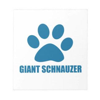 GIANT SCHNAUZER DOG DESIGNS NOTEPAD