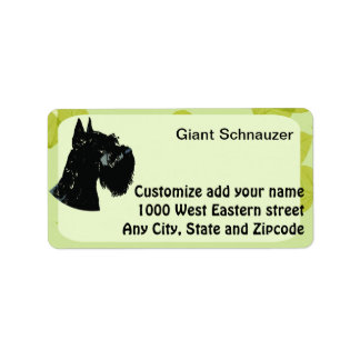 Giant Schnauzer ~ Green Leaves Design Address Label