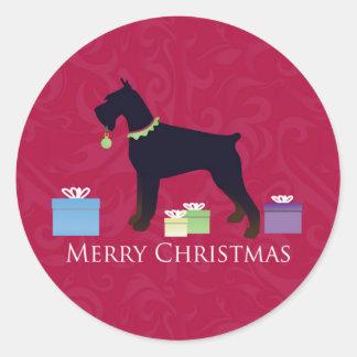 Giant Schnauzer Holiday Greetings Classic Round Sticker