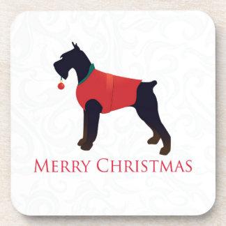 Giant Schnauzer Merry Christmas Design Coaster