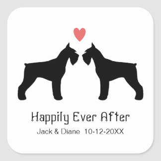 Giant Schnauzer Silhouettes with Custom Text Square Sticker