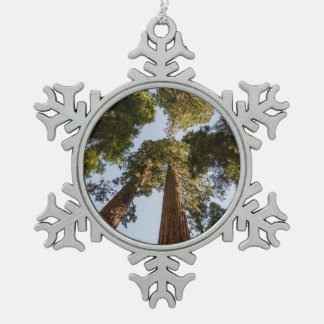 Giant Sequoias in Sequoia National Park Snowflake Pewter Christmas Ornament