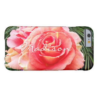 Giant soft pink rose close-up photo custom name barely there iPhone 6 case