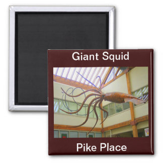 Giant Squid Pike Place Market Seattle, WA Square Magnet