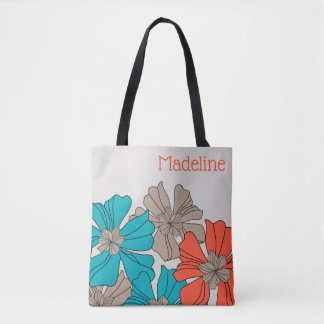 Giant Teal, Orange and Taupe Floral Tote Bag