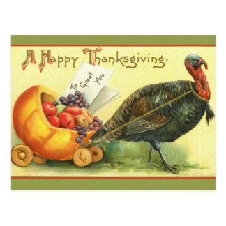 Giant Turkey Vintage Thanksgiving Art Cards Postcard