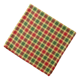 Gibbs Clan Tartan Red, Yellow, and Green Plaid Bandana