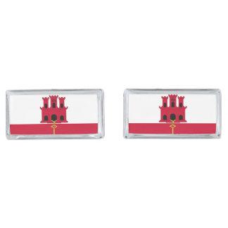 Gibraltar flag silver finish cufflinks