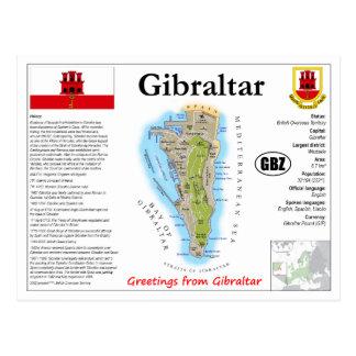Gibraltar Map Postcard
