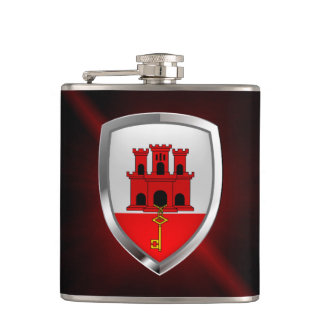 Gibraltar Metallic Emblem Hip Flask