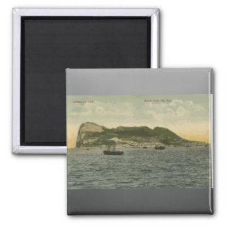 Gibraltar Rock From The Bay, Vintage Square Magnet