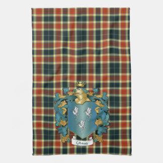 Gibson Coat of Arms and Modern Tartan Tea Towel