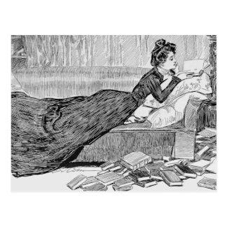 Gibson Girl Reading a Book Postcard
