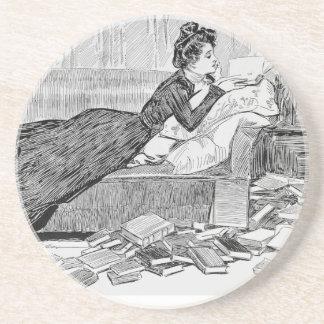 Gibson Girl Reading Sandstone Coaster