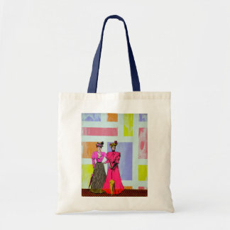 Gibson Girls in a Mondrian Pattern Tote Bag