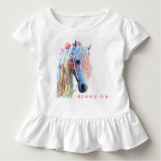 Giddy Up Girl's Horse Ruffled Shirt
