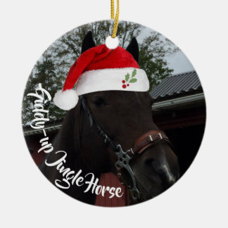 Giddy Up Jingle Horse Christmas Photo Ceramic Ornament