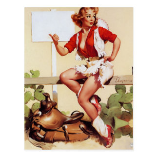 Giddy Up Pin-Up Postcard