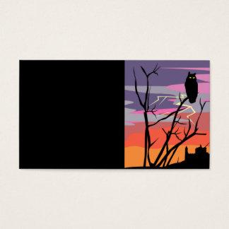 GIFOWL LIGHTENING OWL TREE SCARY HOUSE SUNSET ILLU