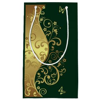Gift Bag--Gold Swirls & Dark Green Small Gift Bag