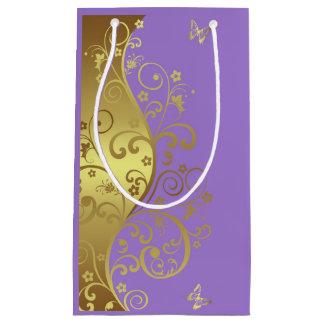 Gift Bag--Gold Swirls & Lavender Small Gift Bag