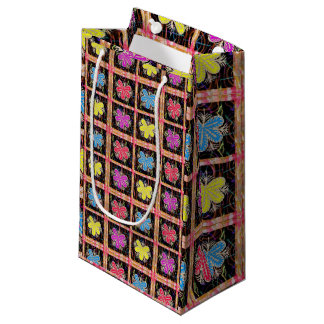Gift Bag Goodluck  Colorful Flowers Oriental Red