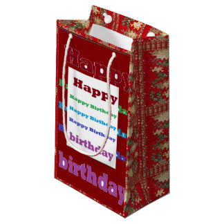 Gift Bag Goodluck HappyBirthday Text Red Graphics