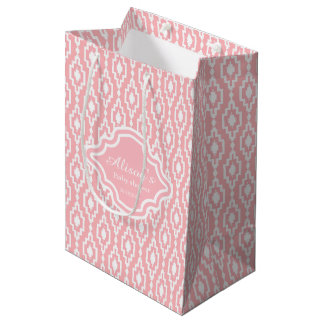 Gift Bag - Rhombic lattice soft pink, Baby shower