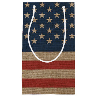 Gift bag with American flag on brown canvas