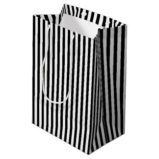 Gift Bag with Black and White Stripes