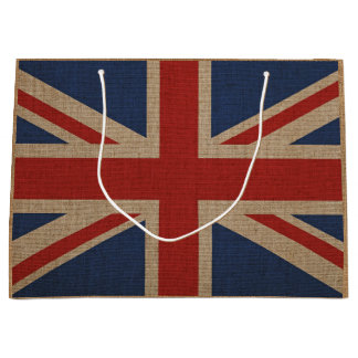 Gift bag with Great Britainon flag on brown canvas