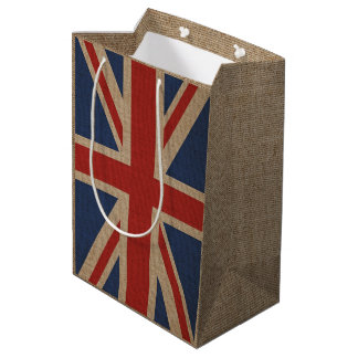 Gift bag with United Kingdom flag on brown canvas