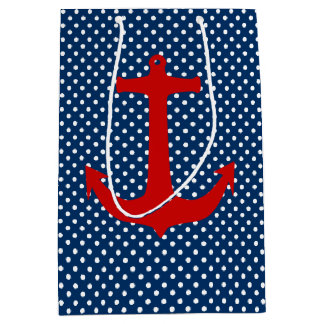 Gift Bag with white dots on navy red anchor