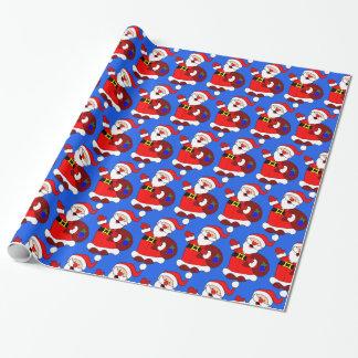Gift bearing Santa wrapping paper