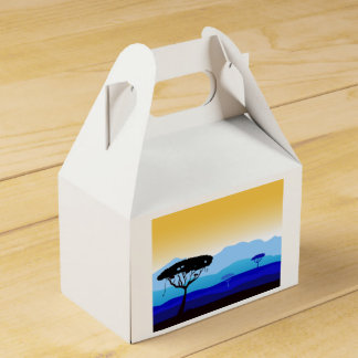 Gift box : blue Africa drawing Favour Box