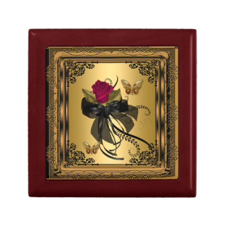 Gift Box Gold Red Rose Vintage Butterfly