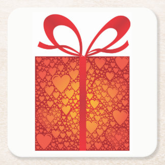 Gift Box Ribbon Hearts Red Happy Birthday Wishes Square Paper Coaster