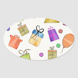 Gift boxes pattern for birthday oval sticker