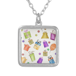 Gift boxes pattern for birthday silver plated necklace