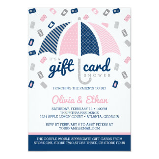 Gift Card Baby Shower Invitation, Navy, Pink