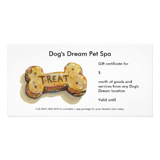 Gift certificate card for dog business groomer spa customised photo card
