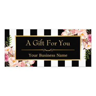 Gift Certificate Gold Floral Black & White Stripes 10 Cm X 24 Cm Invitation Card