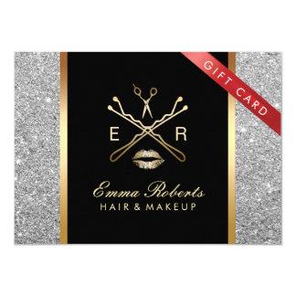 Gift Certificate Modern Silver Glitter Hair Makeup Card