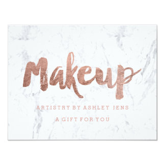 Gift certificate rose gold makeup script marble 11 cm x 14 cm invitation card
