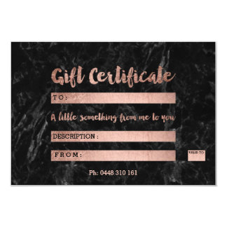 Gift certificate rose gold typography black marble 9 cm x 13 cm invitation card