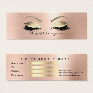 Gift Certificate Rose Skin Gold Lashes Makeup VIP