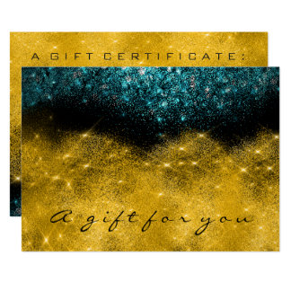 Gift Certificate Teal Gold Glitter Lash Beauty Card