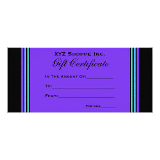 Gift Certificate turquoise purple Rack Cards